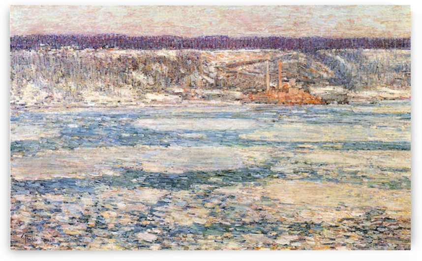 Ice on the Hudson River by Hassam by Hassam