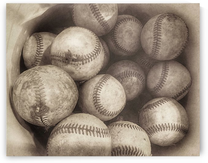 Bucket of Old Baseballs in Sepia by Leah McPhail