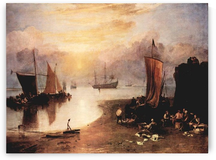 Rising sun in the haze, while gutting and selling fish by Joseph Mallord Turner by Joseph Mallord Turner