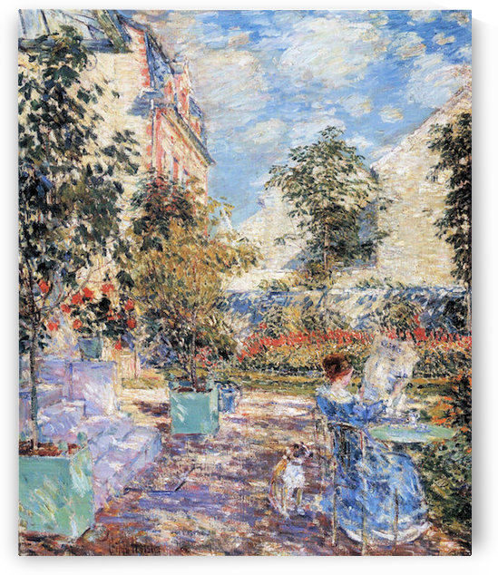 In a French garden by Hassam by Hassam