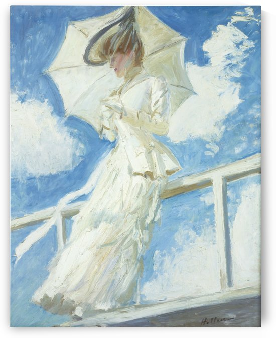 Portrait of Young Woman with Umbrella by Paul Cesar Helleu