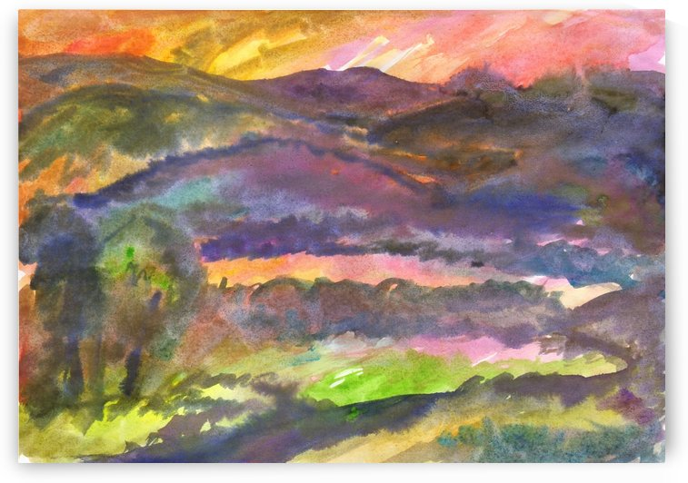 Hilly landscape at sunset by Dobrotsvet Art