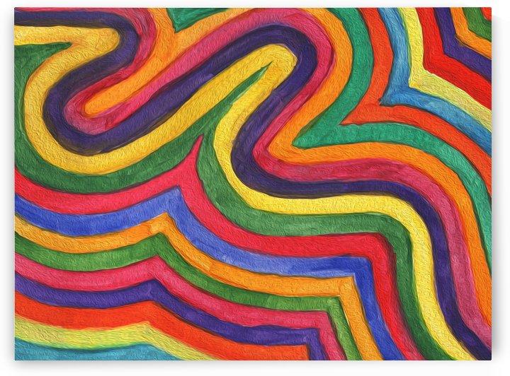 Abstract rainbow waves by Dobrotsvet Art