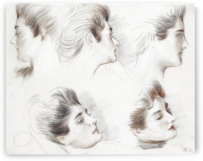 Madame Clarigny, Five Studies of Heads by Paul Cesar Helleu