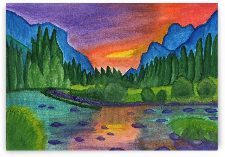 Mountain river in the background of the forest and the blue mountains at sunset by Dobrotsvet Art
