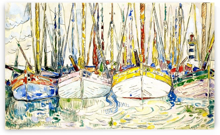 Three Boats by Paul Signac