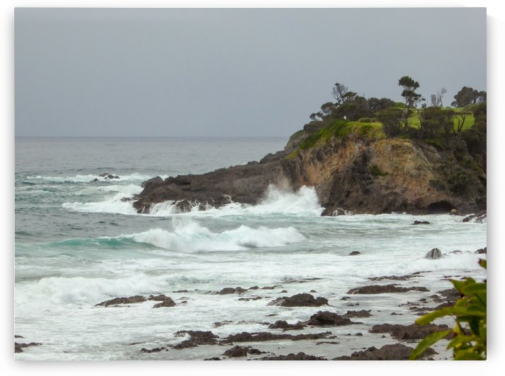 Naroomas stormy coast stormy day by Fran Woods