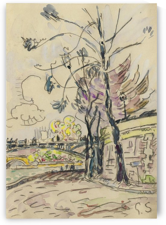 Paris, the Bridge of Arts, View to the Riverbank by Paul Signac