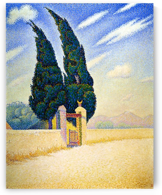 The Cypresses near the Seabank by Paul Signac