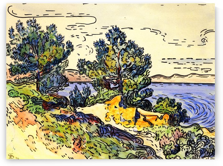 Landscape of the Seashore with Trees by Paul Signac