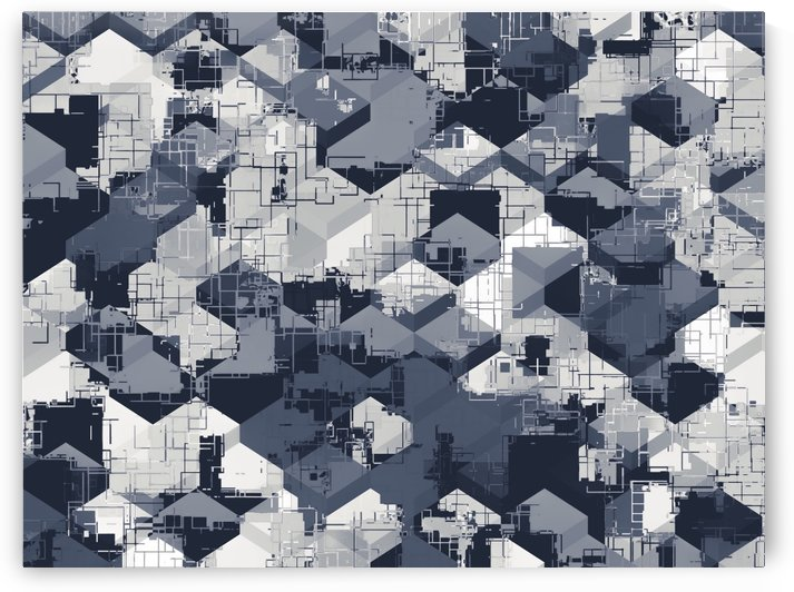 geometric square pattern abstract in black and white by TimmyLA