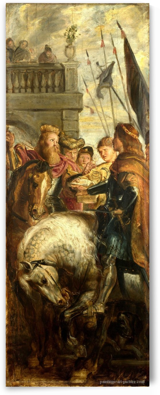 Kings Clothar and Dagobert dispute with a Herald by Peter Paul Rubens