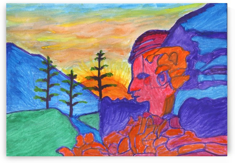 Mystical rock with a profile at sunrise by Dobrotsvet Art