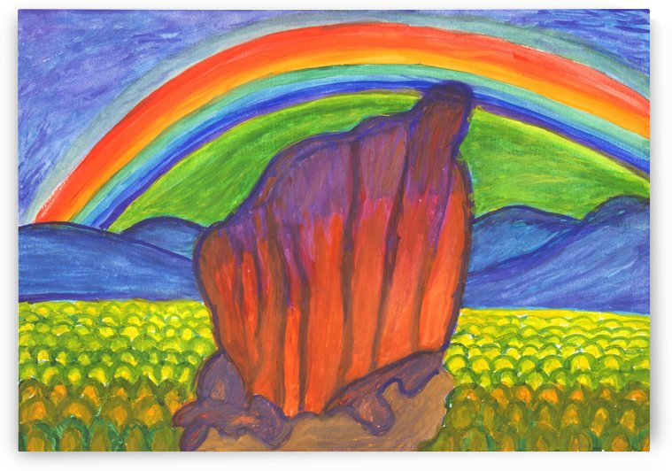 Mystical rock under the rainbow by Dobrotsvet Art
