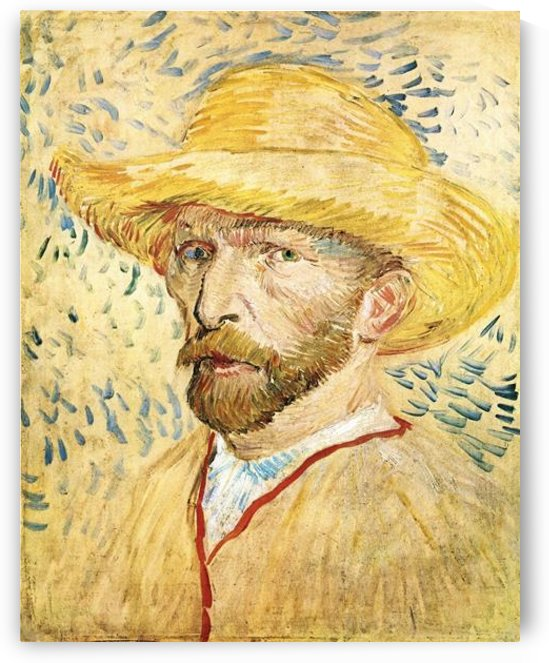 Self-Portait with straw hat by Van Gogh by Van Gogh