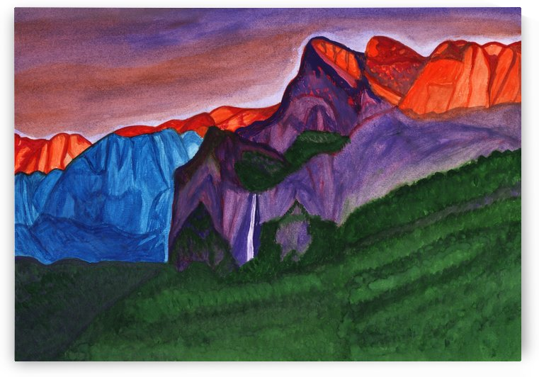 Snowy peaks of the mountains with a waterfall lit up by the orange dawn by Dobrotsvet Art