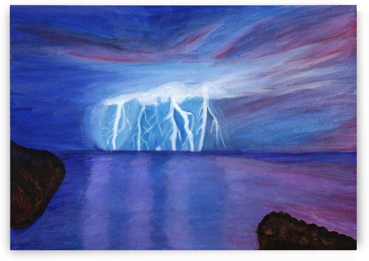 Night lightning illuminating the ocean bay by Dobrotsvet Art