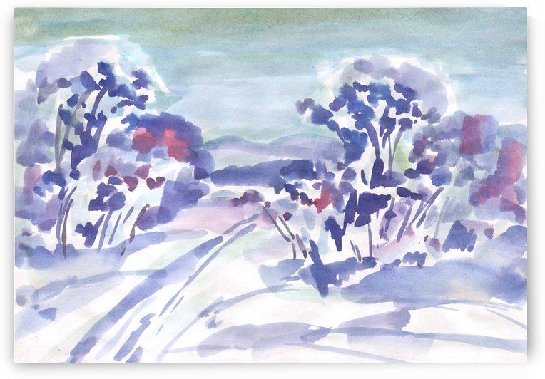 Ski track in the morning forest by Dobrotsvet Art