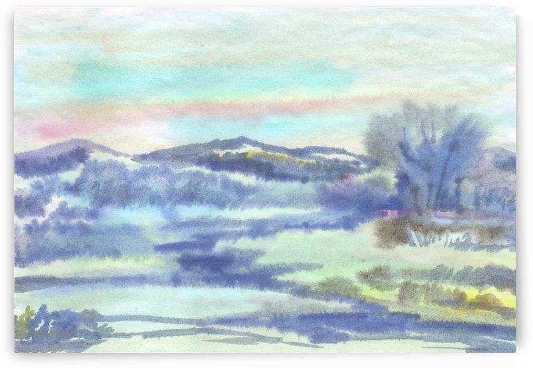 Fog early in the morning on the river by Dobrotsvet Art