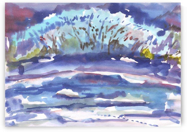 Winter bush by the river by Dobrotsvet Art