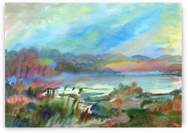 Beautiful misty morning on the lake by Dobrotsvet Art