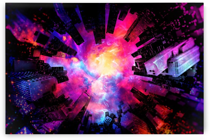 Abstract City Nebula Night by Art Design Works