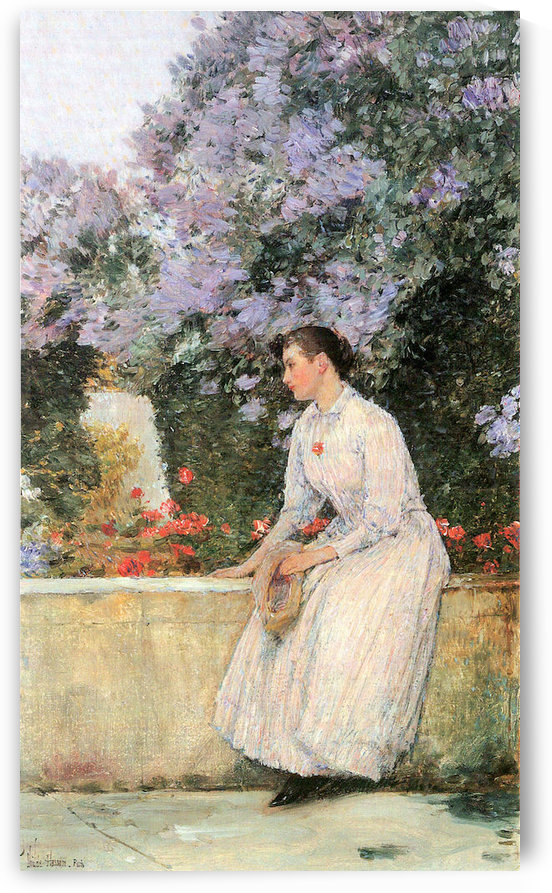 In the garden by Hassam by Hassam