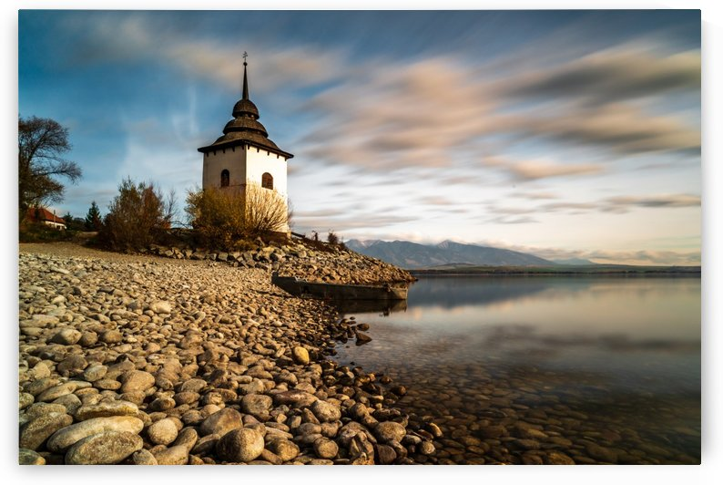Gothic church Havranok at Lake Liptovska Mara by zoltanduray
