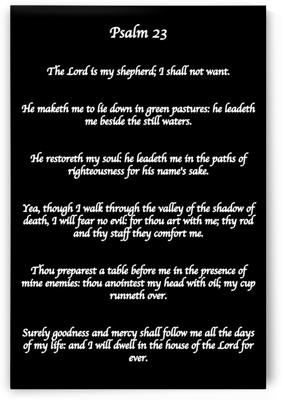Psalm 23 BW by Scripture on the Walls
