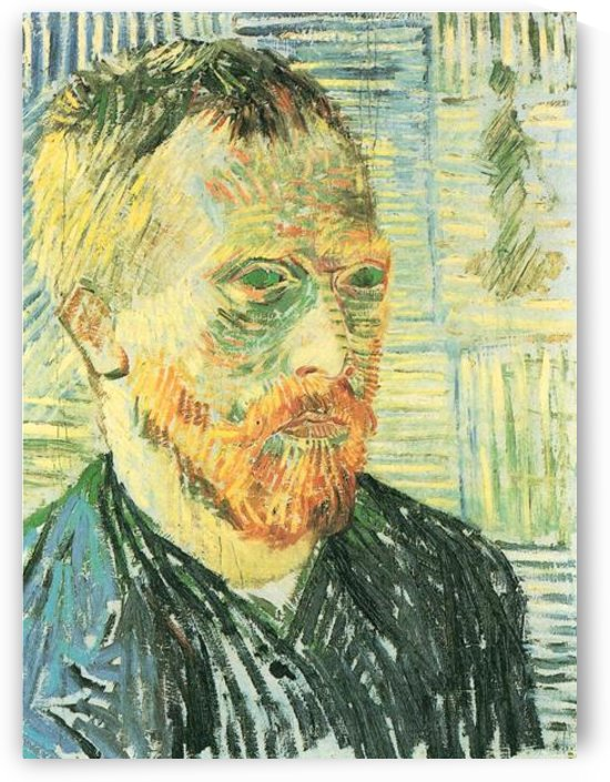 Self-portrait with background of Japanese woodblock by Van Gogh by Van Gogh