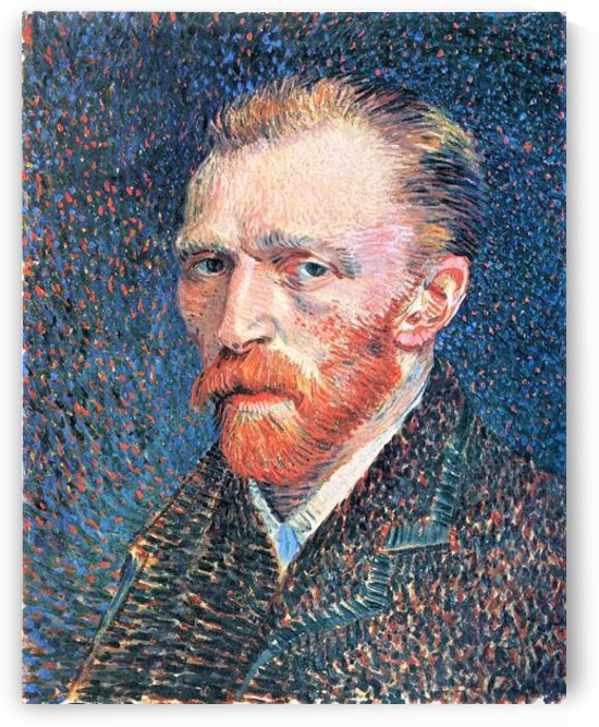 Self-portrait with densely dotted background from right by Van Gogh by Van Gogh