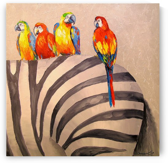 Parrots on Zebra by Olha Darchuk