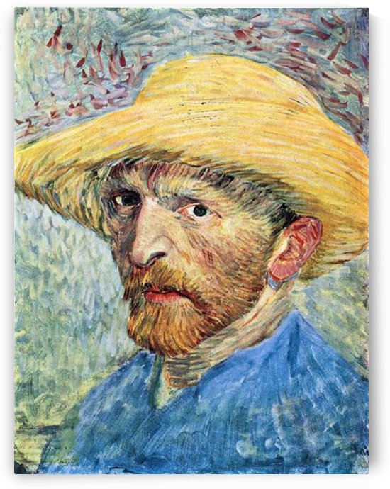 Self-portrait, with straw hat and blue shirt by Van Gogh by Van Gogh