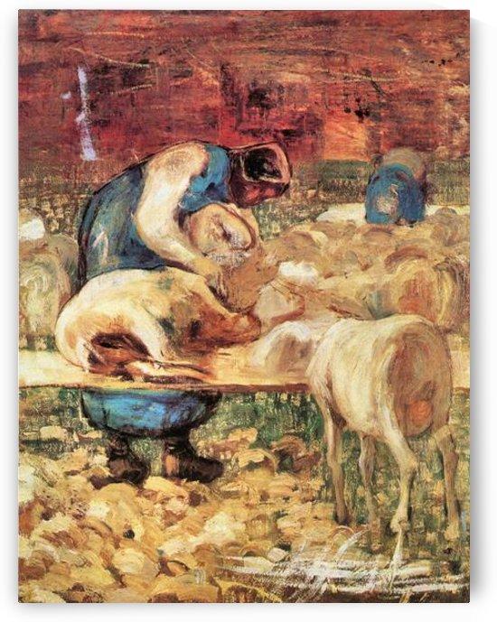 Shearing by Giovanni Segantini by Giovanni Segantini
