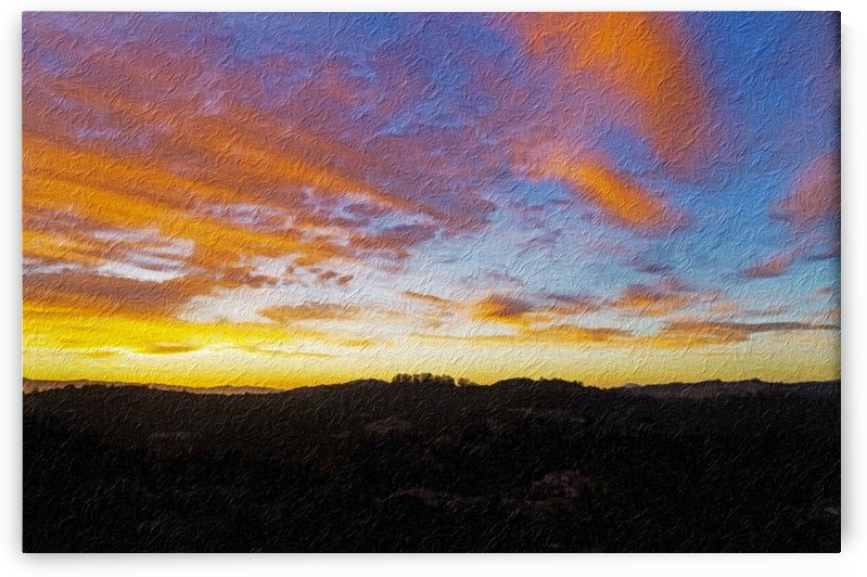 DIgital Painting of Santa Rosa Sunset by Bob Corson
