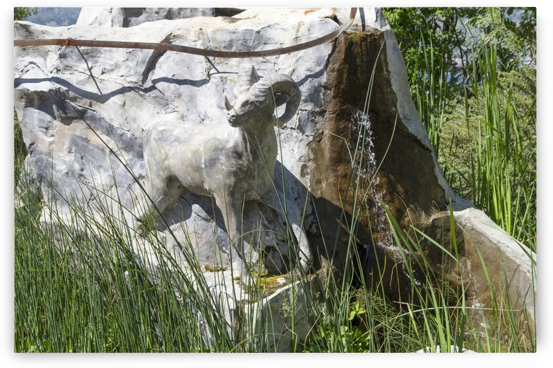 Stone Statue of a Big Horn Sheep 1 by Bob Corson