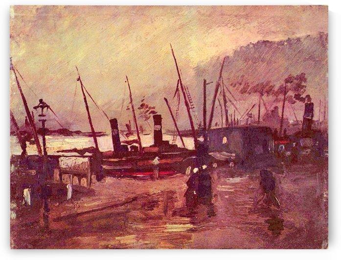 Ships in Antwerp by Van Gogh by Van Gogh