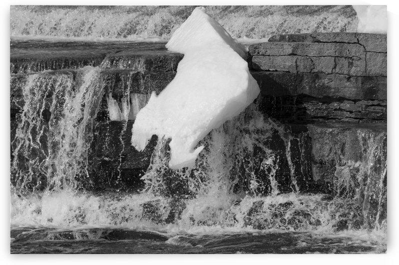 Falling Ice bw by Bob Corson