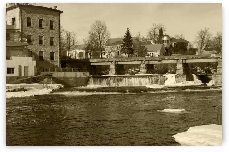 Waterfallsice and snow on the Mississippi River in Almonte OntarioCanada sepia by Bob Corson