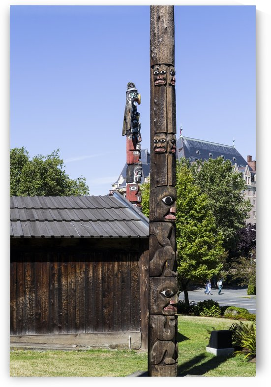 Totem Poles in Thunderbird Park Victoria BC 9 by Bob Corson