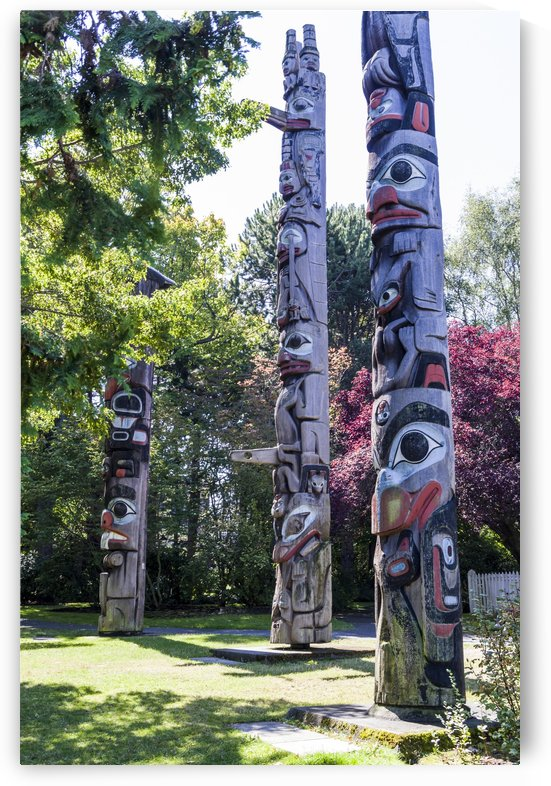 Totem Poles in Thunderbird Park Victoria BC 5 by Bob Corson