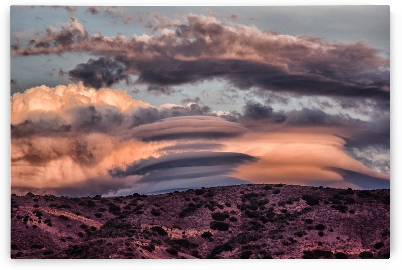Lenticular Clouds at Sunset 1 by Linda Brody