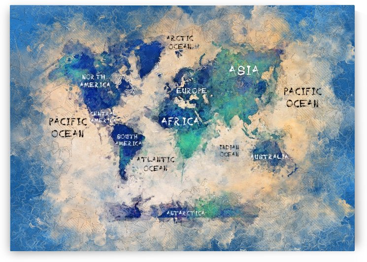 world map OCEANS and continents by Justyna Jaszke