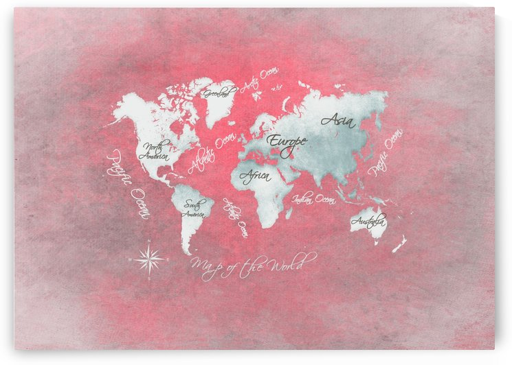 world map white red by Justyna Jaszke
