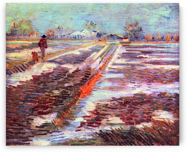 Snowy fields in Arles by Van Gogh by Van Gogh