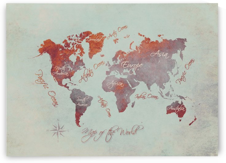 world map red light blue by Justyna Jaszke
