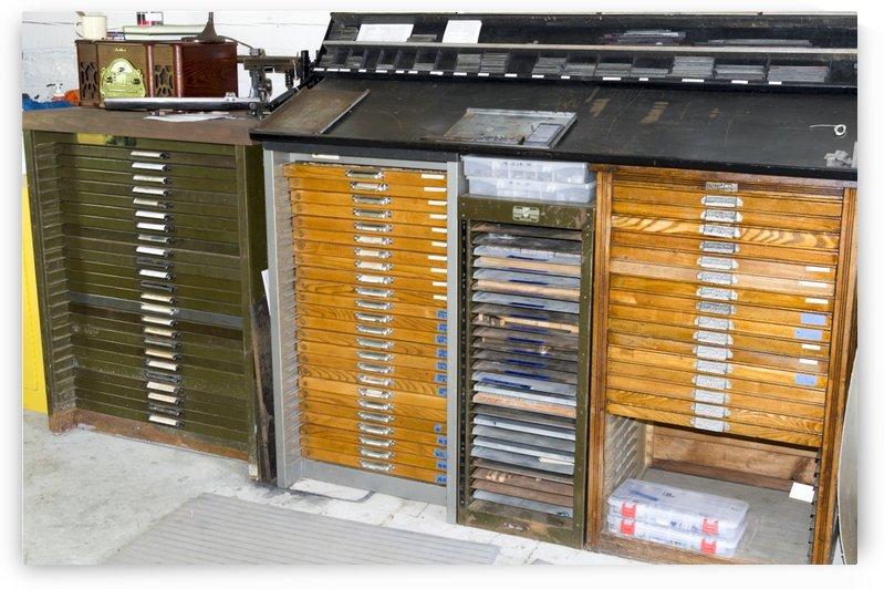 Printing press type storage by Bob Corson