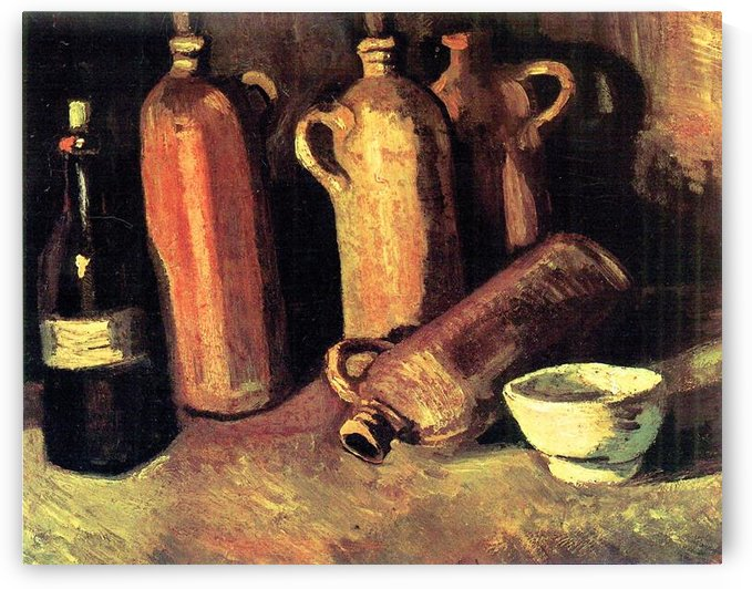 Still life with four jugs, bottle and a white bowl by Van Gogh by Van Gogh