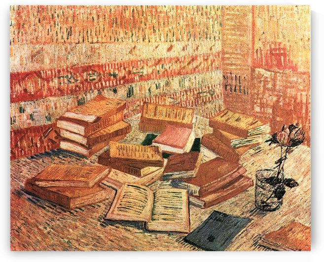 Still Life with French novels, and glass with Rose by Van Gogh by Van Gogh