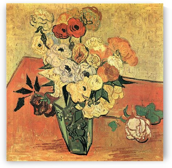 Still Life with Japanese vase, roses and anemones by Van Gogh by Van Gogh